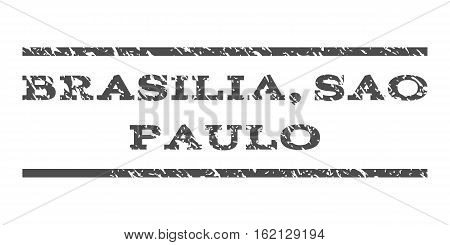 Brasilia, Sao Paulo watermark stamp. Text tag between horizontal parallel lines with grunge design style. Rubber seal stamp with dust texture. Vector gray color ink imprint on a white background.
