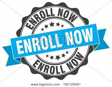 enroll now. stamp. sign. seal. round. retro. ribbon