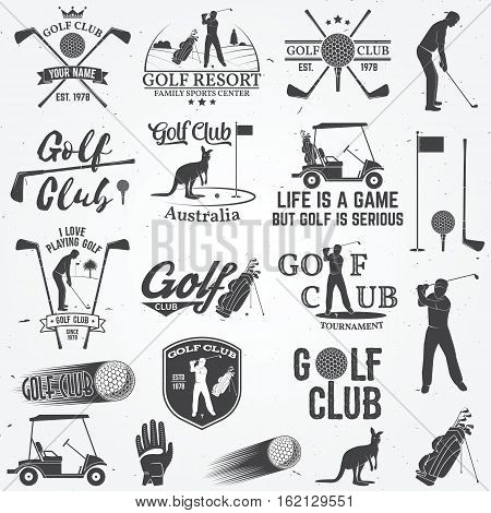 Set of Golf club concept with golfer silhouette and design elements. Vector golfing club retro badge. Concept for shirt, print, seal or stamp. Typography design.