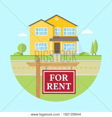 House for rent. Vector flat icon suburban american house. For web design and application interface, also useful for infographics. Family house icon isolated on white background. Real estate.