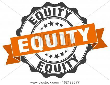 equity. stamp. sign. seal. round. retro. ribbon