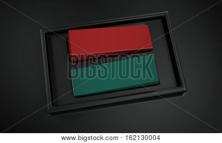 Red and green power buttons or on and off switches on a dark grey background in a close up side view. 3d Rendering.