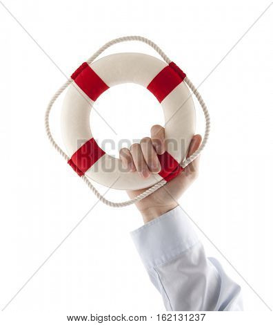 Hand holding a lifebuoy isolated on white with clipping path
