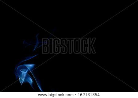 Blue abstract curled smoke art plume on the left on a black background