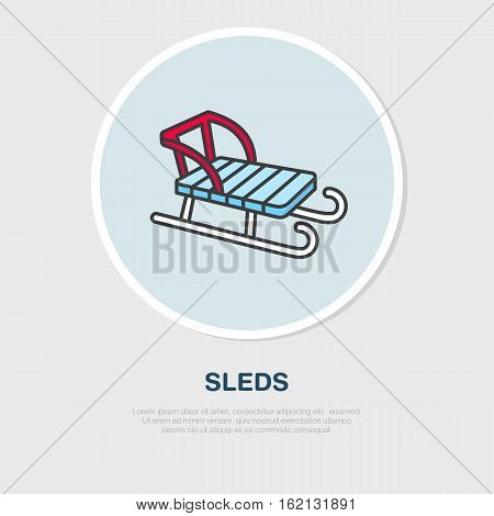 Vector thin line icon of sleds. Winter recreation equipment rent logo. Outline symbol of sleigh. Cold season activities, sledge sign.
