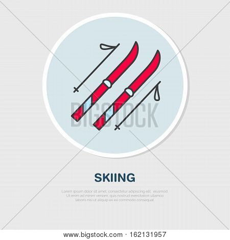 Vector thin line icon of ski and poles. Winter recreation equipment rent logo. Outline symbol of skiing. Cold season activities sign.