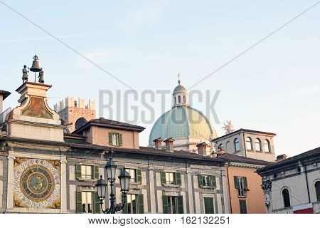 A view of Square of the Lodge at sunset - Brescia - Lombardy