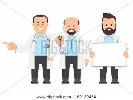 Doctors scientists. Vector illustration of a people in a white coats. Flat style