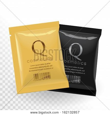 Realistic Gold and Black color Blank template Packaging Foil wet wipes Pouch Medicine or for cosmetics. vector illustration.