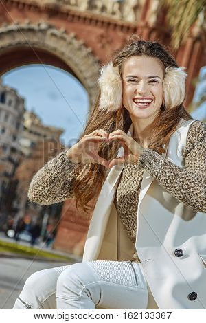 Fashion-monger In Barcelona, Spain Showing Heart Shaped Hands