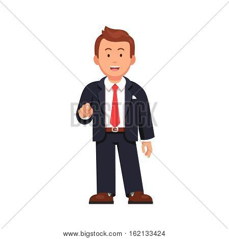 Standing business man pointing with index finger at viewer. I want you gesture. Flat style vector illustration isolated on white background.