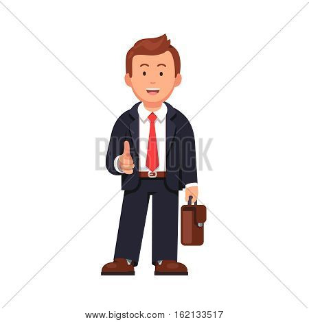 Standing businessman stretching his open hand offering handshake. Welcoming and ready for business. Flat style vector illustration isolated on white background.
