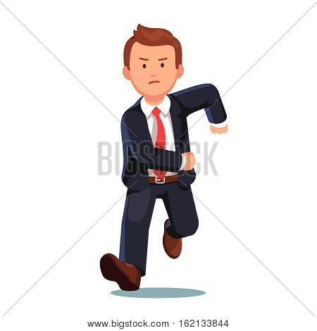 Stressed late business man with an angry face running fast toward the viewer. Businessman trying to catch on time. Flat style vector illustration isolated on white background.