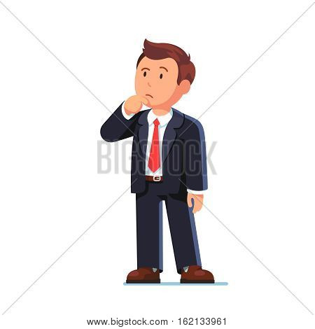 Standing business man making thinking gesture. Stroking or scratching chin thoughtfully and looking up. Flat style vector illustration isolated on white background.