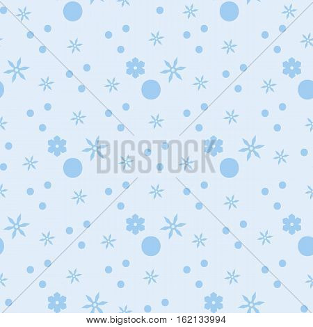Seamless simple pattern with small circles and stars. Winter background. Substrate in the blue range. Small chaotic light blue pattern of snowflakes.