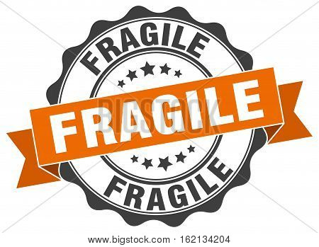 fragile. stamp. sign. seal. round. retro. ribbon