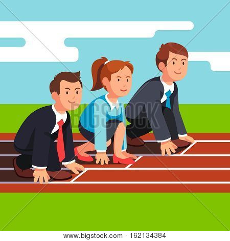 Business man and woman sitting in starting position at start line ready to sprint run on race track. Businessman competition. Flat style vector illustration isolated on white background.