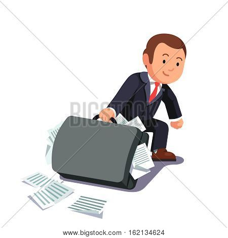 Businessman dragging huge heavy bloated briefcase full of papers and documents. Lawyer man paperwork and legal burden concept. Flat style vector illustration.