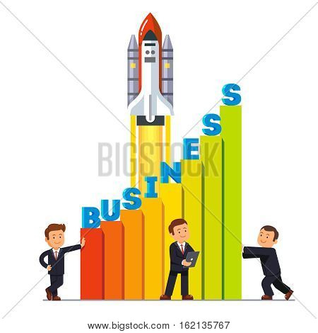 Businessman team working together to launch their growing business sales rocket ship high up. Teamwork for growth metaphor. Flat style vector illustration isolated on white background.