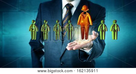 Human resources manager promoting the only female candidate in line-up of otherwise male applicant icons. Business concept for career success gender equality professional promotion and leadership.