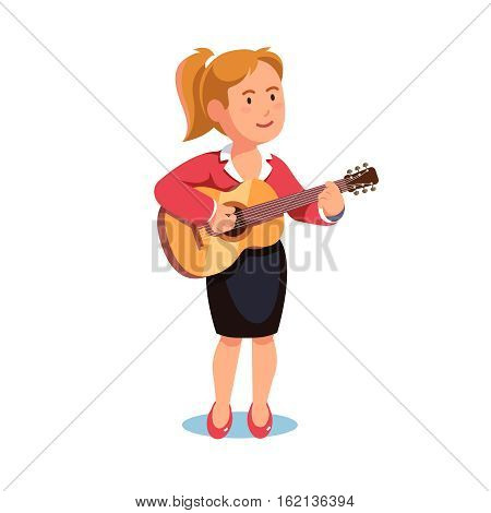 Standing woman in a formal dress playing guitar music. Pastime hobby. Flat style vector illustration isolated on white background.