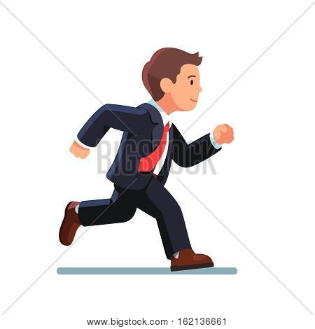 Business man in suit and red tie running fast. Fast run of businessman. Side view. Flat style vector illustration isolated on white background.