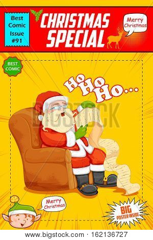illustration of Santa Claus reading wish list for Christmas saying Ho Ho Ho