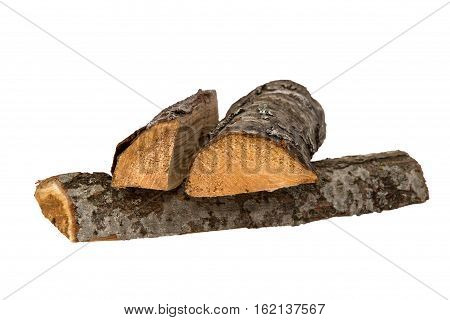 Pile of firewood isolated on a white background.
