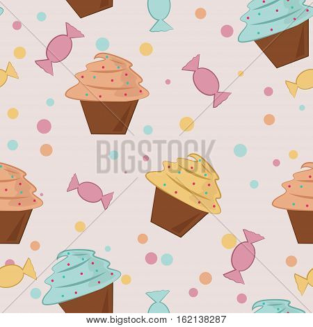 Seamless pattern. Background with cupcakes and candy. Vector illustration