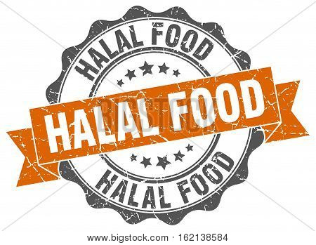 halal food. stamp. sign. seal. round. retro. ribbon