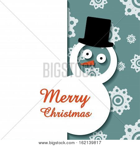 Snowman in top hat Paper snowman in a top hat on gray background with white snowflakes