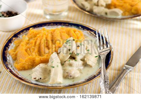Chicken bites in creamy sauce gravy with estragon tarragon served with mashed sweet potatoes