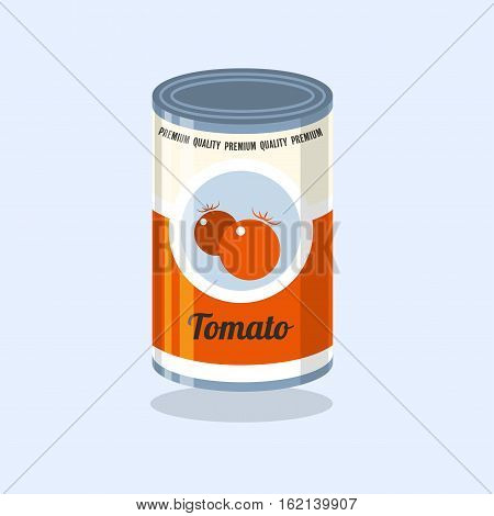 Tin Vector illustration Retro tin can with tomatoes on a light blue background