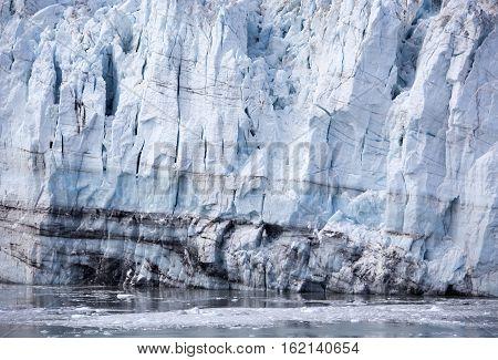 The details of a glacier in Glacier Bay national park (Alaska).