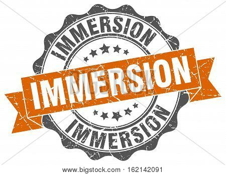immersion. stamp. sign. seal. round. retro. ribbon