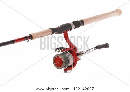 Fishing rod with a reel isolated on white background