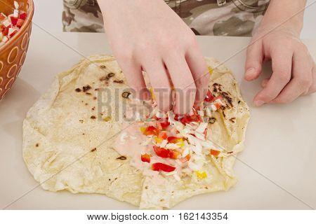 preparation of homemade shwarma or tacos, toned image