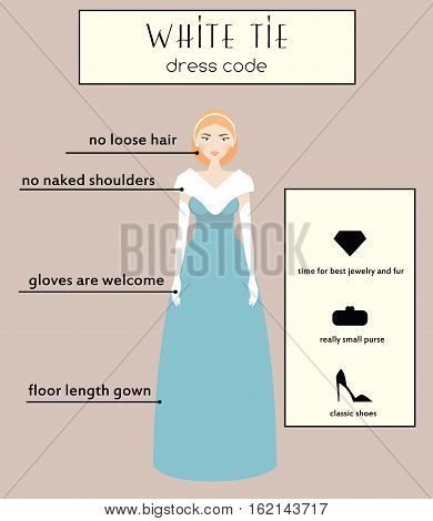 Woman dress code infographic. White tie type. Female in evening long gown dress