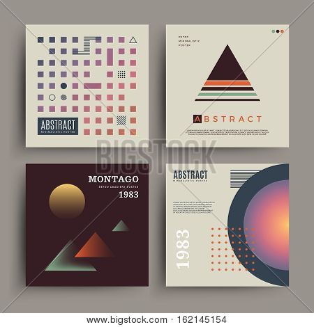 Retro abstract minimalistic poster with muted colors