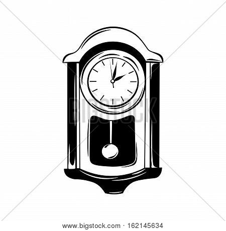 Antique wall pendulum clock icon. Vector illustration isolated on white background