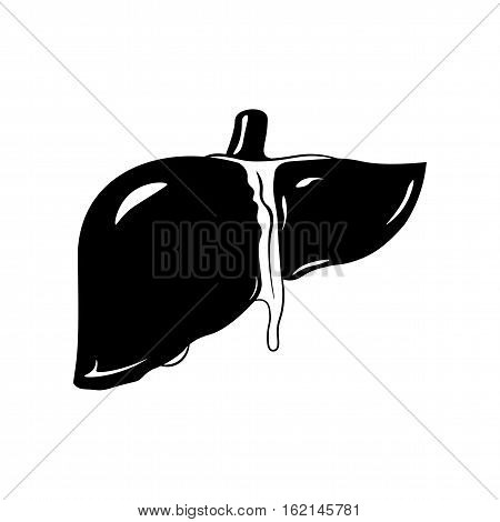 Human liver icon in black style isolated on white background. vector illustration.
