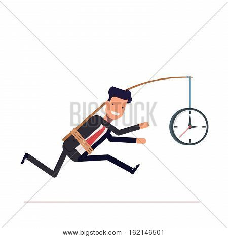 Businessman or tied clock manager runs the time. Stupid, inconsiderate man in a business suit does not notice his mistake. Vector, illustration EPS10