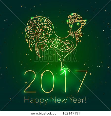 Golden Rooster on Dark Glossy Background with Glittering Sparcles. 2017 Chinese New Year Greeting Card with Hand Drawn Peacock.