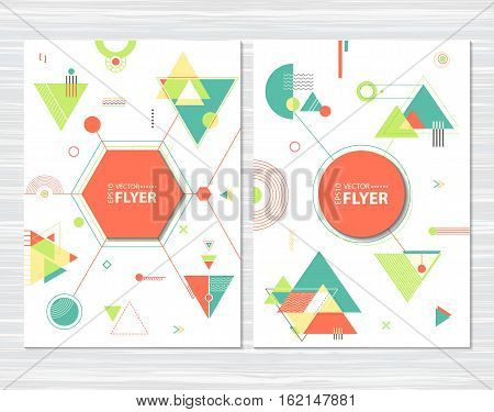Abstract geometric background. Hipster pattern with chaotic triangular and polygonal shapes. Flat design layout template for placard flyer poster or cover presentation