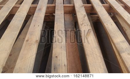 Wooden Pallets Are Stacked For Use
