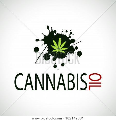 Illustration cannabis oil spilled on a white background.