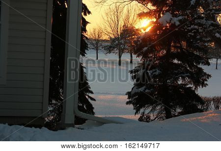 Winter sunset at the Town Homes along Seaver Lane in Hoffman Estates, Illinois.