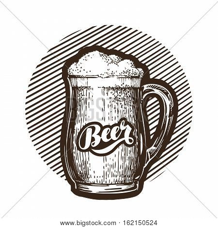 Mug of beer symbol. Cold and fresh ale icon. Vector illustration isolated on white background