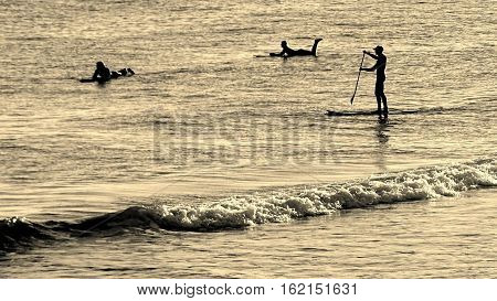 Surfers and paddle boarder enjoy the waves at the beach
