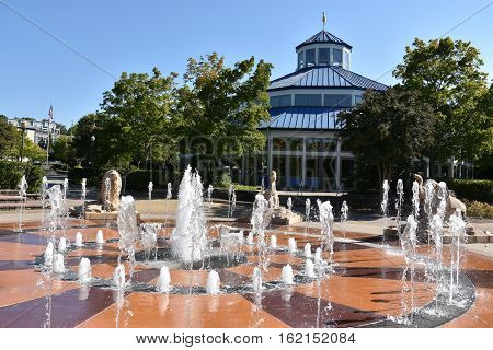 CHATTANOOGA, TN - OCT 5: Interactive fountain at Coolidge Park in Chattanooga, Tennessee, as seen on Oct 5, 2016. The park is part of the Tennessee Riverwalk that runs along the Tennessee River.